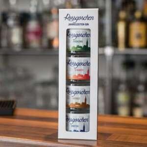 Rossgoschen Gin 4 Jahreszeiten Set von Rossgoschen Spirituosen Manufaktur aus Hannover, Niedersachsen auf Bartresen zusammen