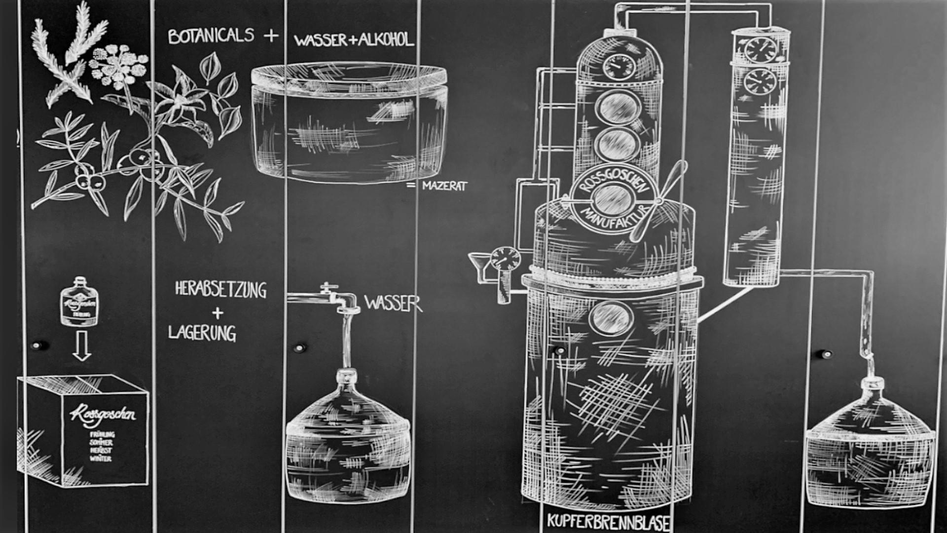 Rossgoschen Spirituosen Manufaktur Hannover Gin Herstellung Zeichnung