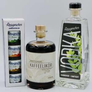 Gin Jahreszeiten Set mit Niedersachsens Kaffeelikör und Hannover Vodka von der Rossgoschen Spirituosen Manufaktur Hannover