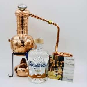 Gutschein Gin Workshop mit Rossgoschen Gin Herbst deiner Wahl von der Rossgoschen Spirituosen Manufaktur Hannover Bild mit Destille