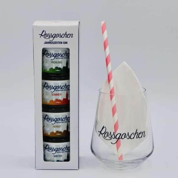 Jahreszeiten Set mit Glas von der Rossgoschen Spirituosen Manufaktur Hannover