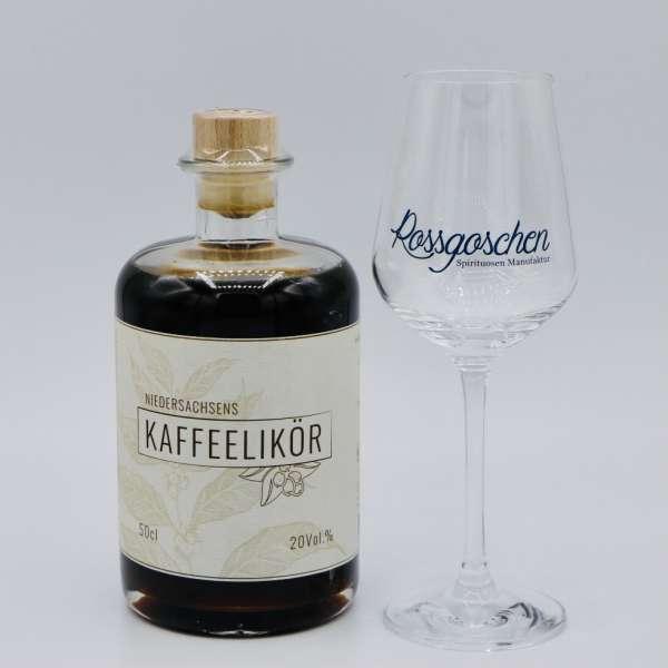 Niedersachsens Kaffeelikör mit Nosing Glas von der Rossgoschen Spirituosen Manufaktur Hannover